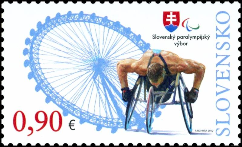 Timbre Slovaquie - Jeux Olympiques et Paralympiques de Londres 2012 (Flamme olympique et athlétisme handisport) 4fc5ee12