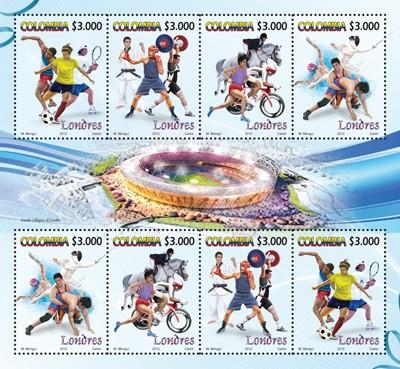 Timbre Colombie - Jeux Olympiques de Londres 2012 (Multisport) Colomb10