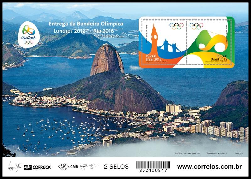 Timbre Brésil - Jeux Olympiques de Londres 2012 et Rio de Janeiro 2016 (Passation du drapeau olympique) Minifo10