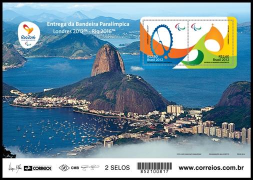 Timbre Brésil - Jeux Olympiques de Londres 2012 et Rio de Janeiro 2016 (Passation du drapeau olympique) Minifo12