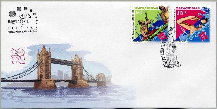 Timbre Hongrie - Jeux Olympiques de Londres 2012 (Natation et Kayak) Object12