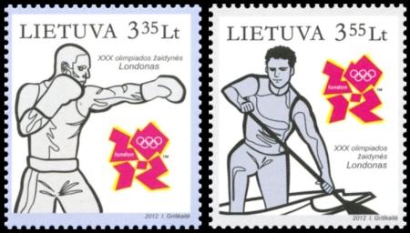 Timbre Lituanie - Jeux Olympiques de Londres 2012 (Boxe et Canoë) Olimpi10