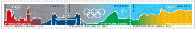 Timbre Brésil - Jeux Olympiques de Londres 2012 et Rio de Janeiro 2016 (Passation du drapeau olympique) Se-ten10