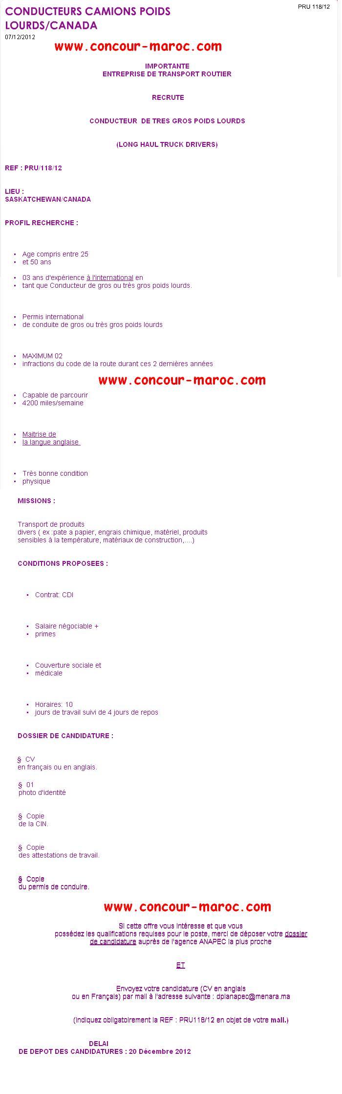 ANAPEC : شركة كندية لنقل الطرقي توظيف سائقي الوزن الثقيل من المغرب قبل 20 دجنبر 2012 Emploi13