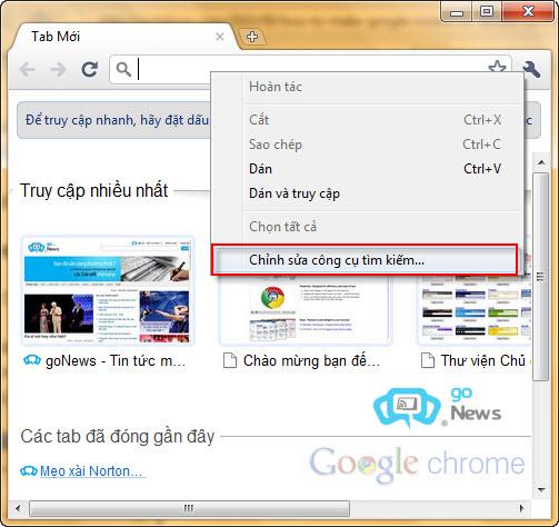 Đặt Google Instant làm bộ máy tìm kiếm cho trình duyệt 62efda10