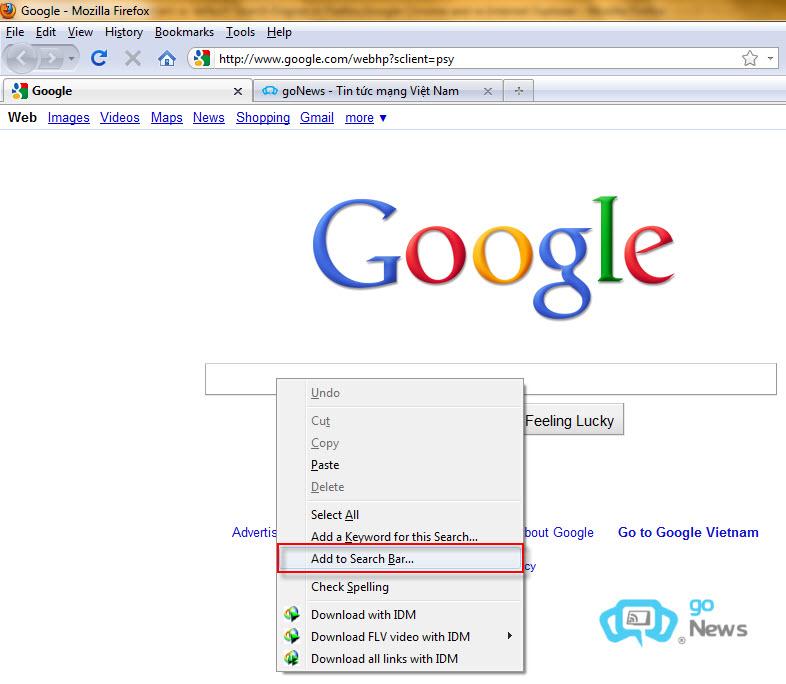 Đặt Google Instant làm bộ máy tìm kiếm cho trình duyệt 7de18310