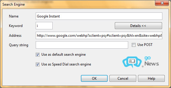 Đặt Google Instant làm bộ máy tìm kiếm cho trình duyệt 9be00310