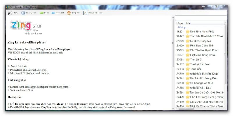 Zing Karaoke Offline bản Beta. Ashamp72