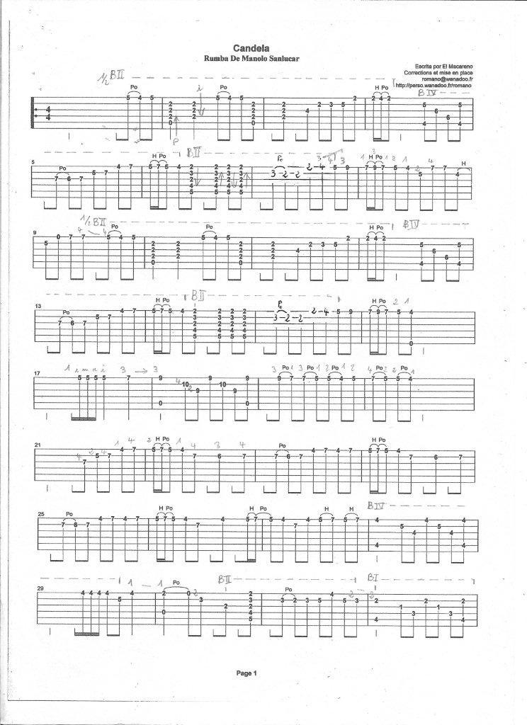Tablature Candela de Manolo Sanlucar. Candel35