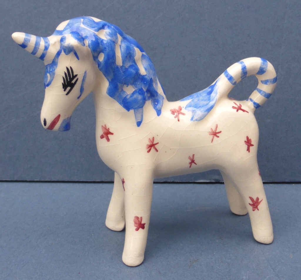 Pretty Little Ceramic Unicorn Figure by Unknown Maker 1960s - Help Please P1440811