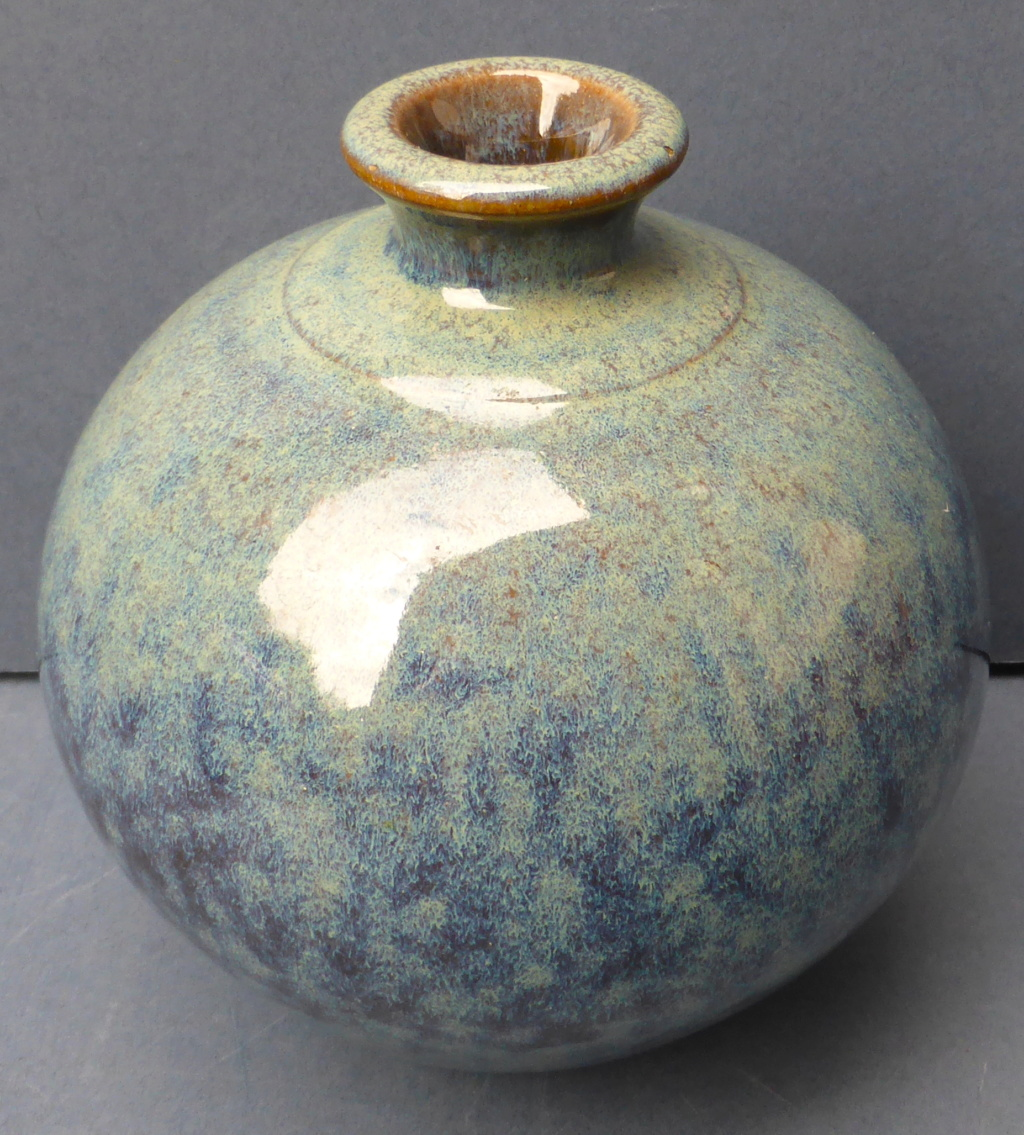 Mottled blue Glazed Bottle Vase with Unknown Mark P1450310