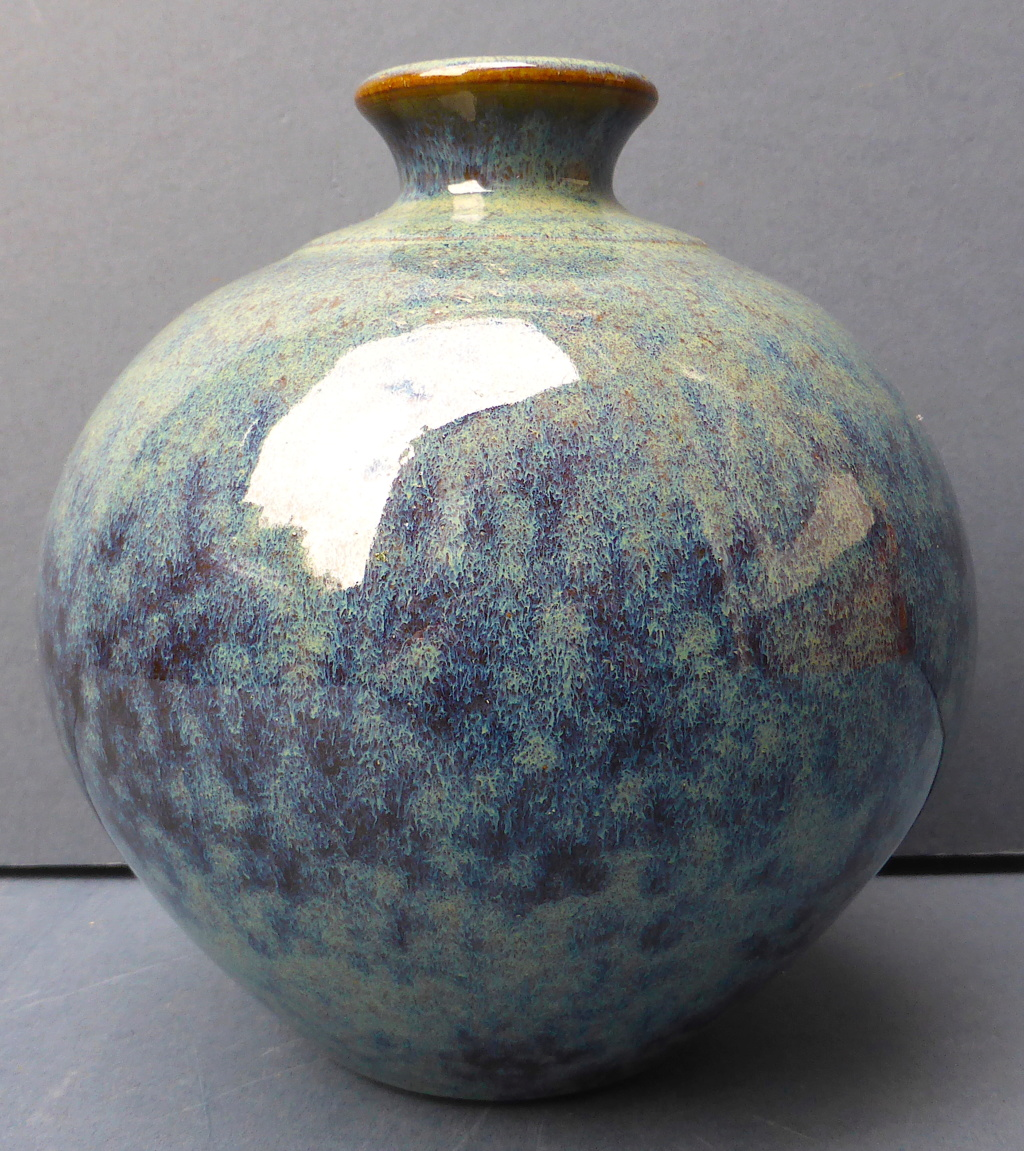 Mottled blue Glazed Bottle Vase with Unknown Mark P1450311