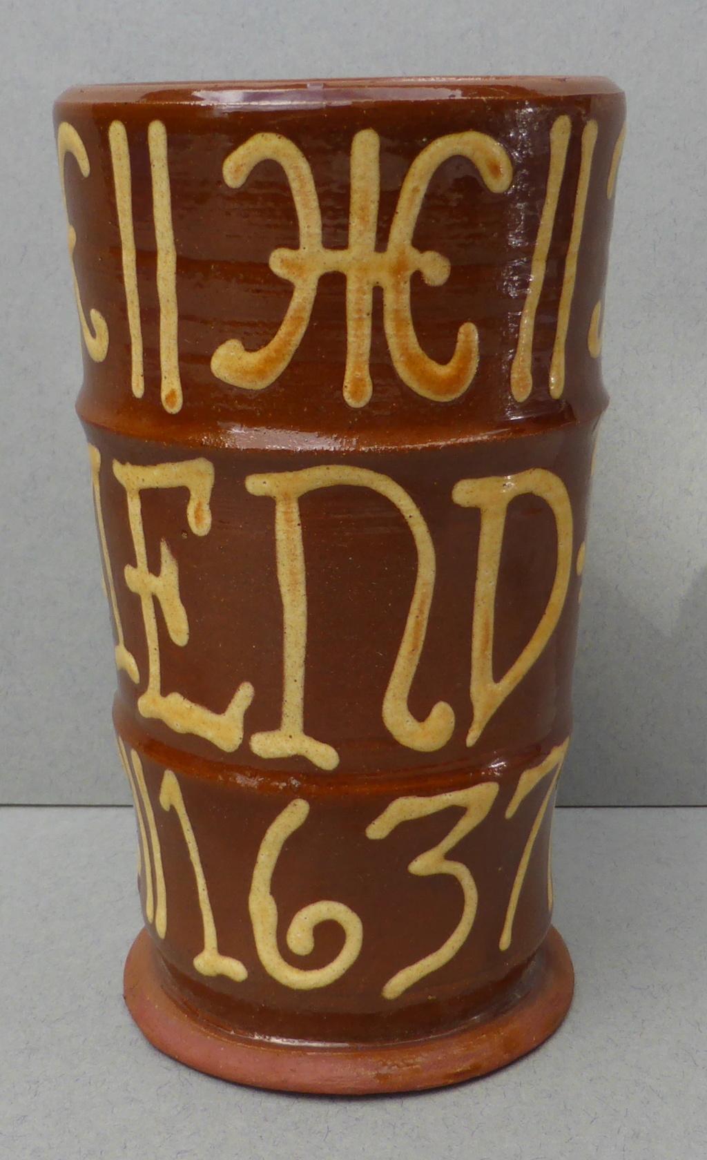 Slipware Mug with Cross Mark P1460010