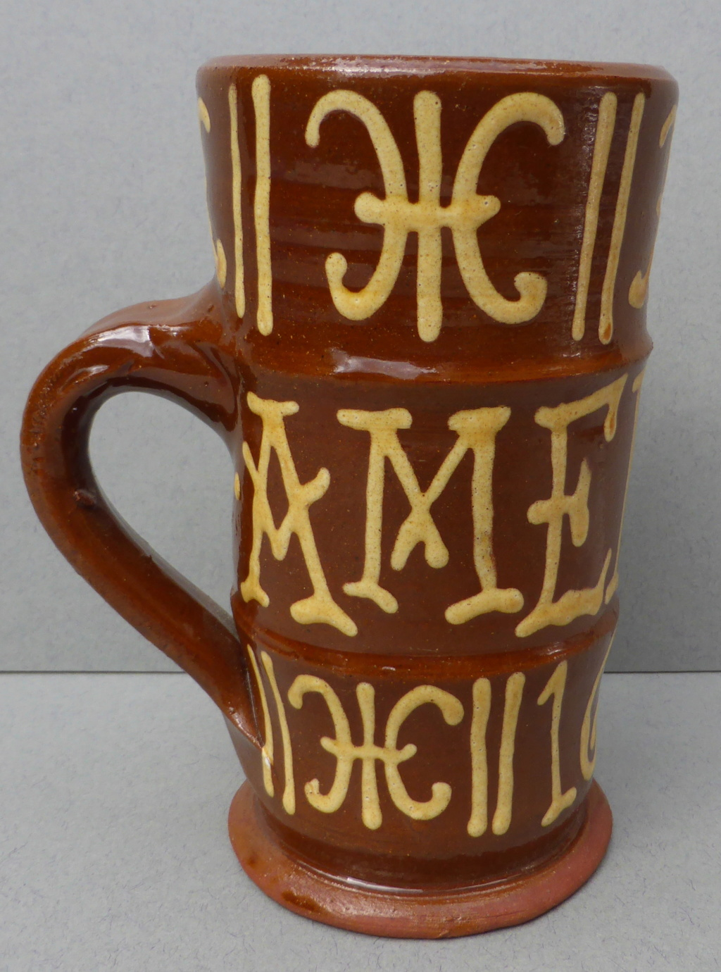 Slipware Mug with Cross Mark P1460012