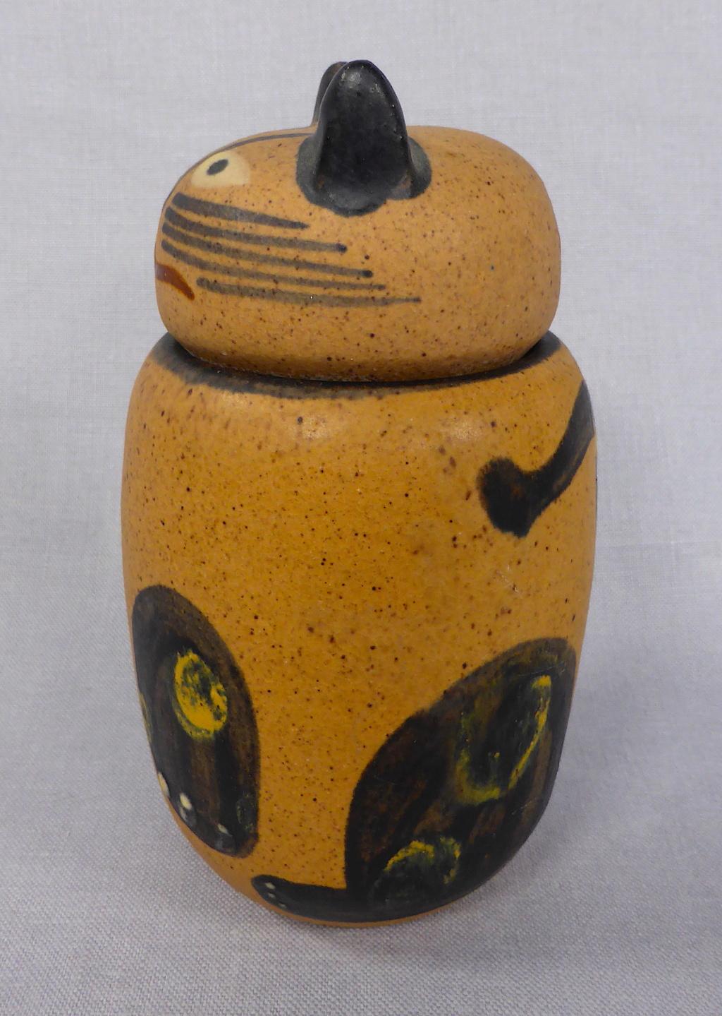 Stoneware Cat Jar, signed Pozancos Sigüenza  P1670311