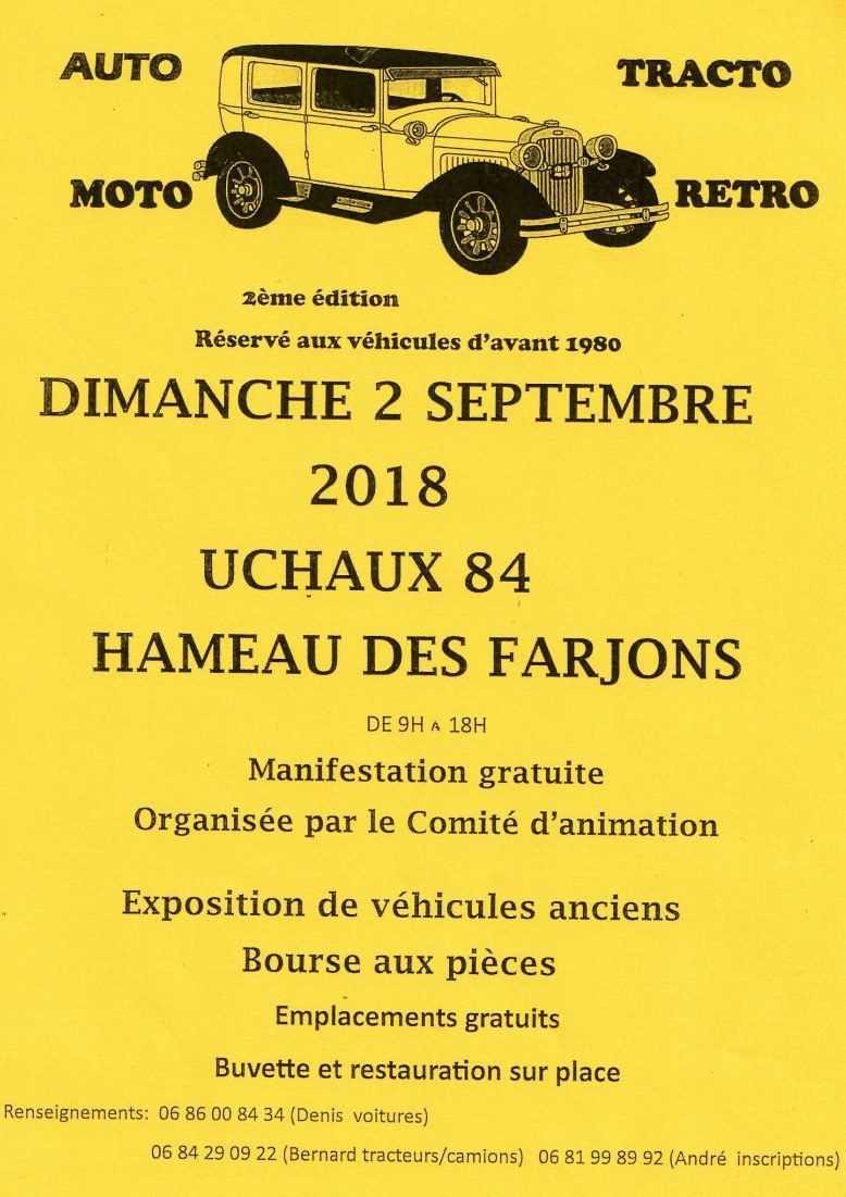 84 - UCHAUX  : Auto-tracto-Moto-Rétro le 2 Septembre 2018 1116
