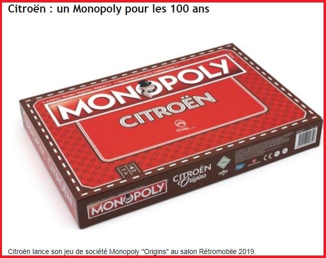 jeu du MONOPOLY pour le centenaire de CITROËN 2341