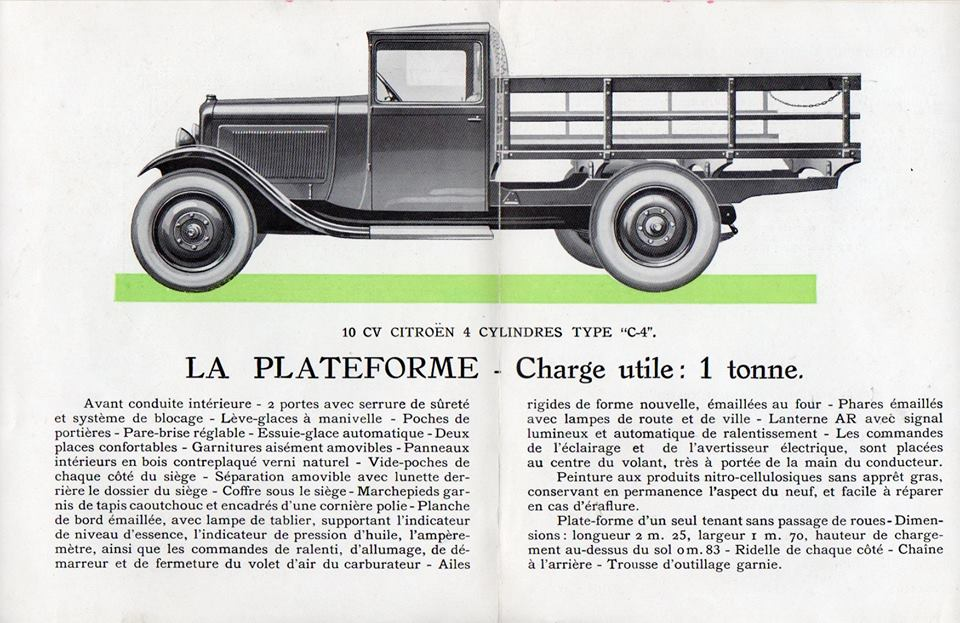 Brochure publicitaire de la gamme C4  (1000 kg) en 1929 2456