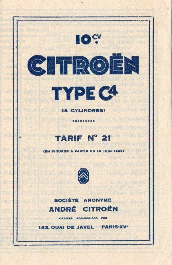 Brochure publicitaire de la gamme C4  (1000 kg) en 1929 2650