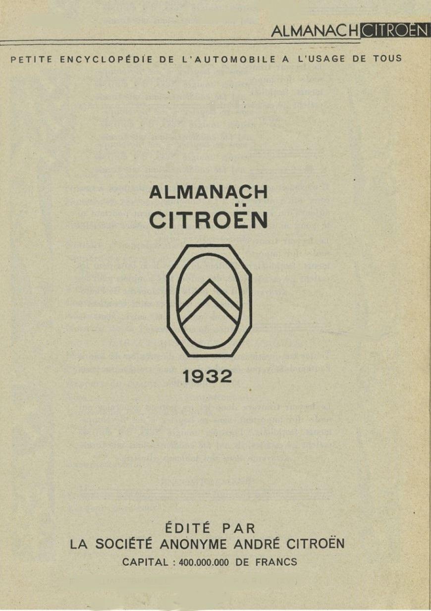 ALMANACH  CITROËN 1932 3685