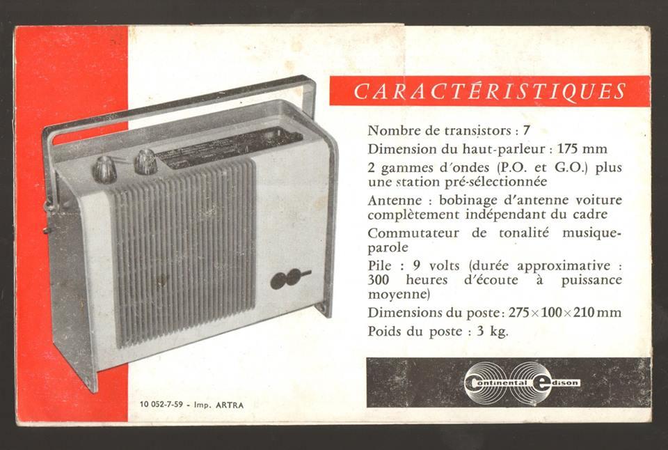 DEMANDE de RENSEIGNEMENTS sur le RADIOËN 1959 4315