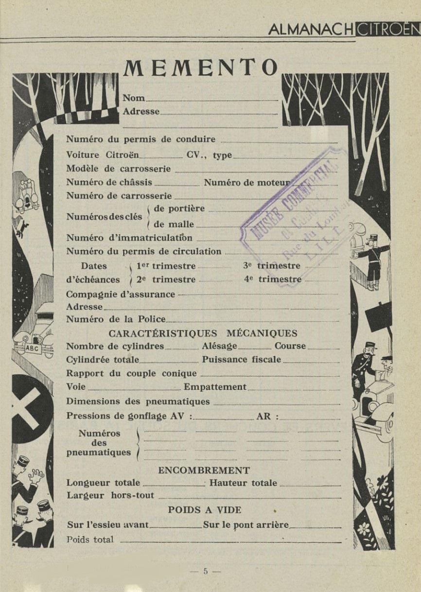 ALMANACH  CITROËN 1932 5563