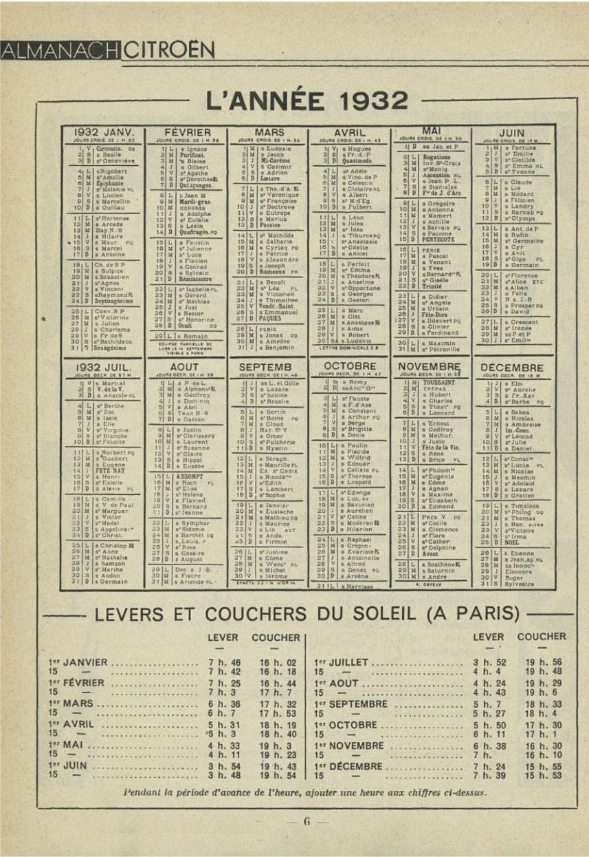 ALMANACH  CITROËN 1932 6387