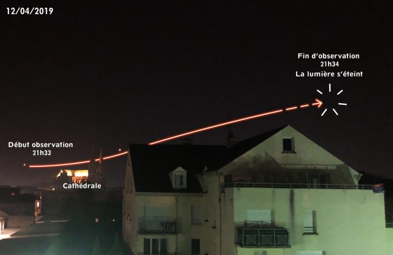 2019: le 12/04 à 21h33 - Lumière étrange dans le ciel  - MAINVILLIERS -Eure-et-Loir (dép.28) 20190410