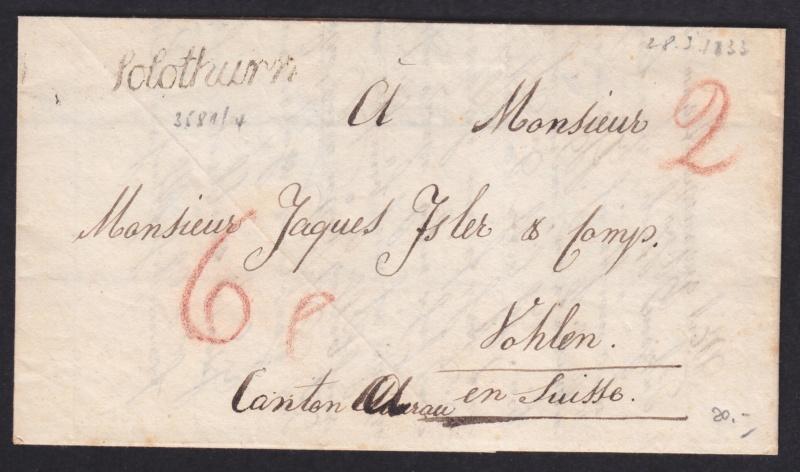 Posttaxen bei Vorphilabriefen 1833_010