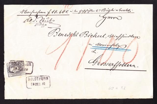 Tausche 2-zeilige Fahrpoststempel Stehende Helvetia 1882_111