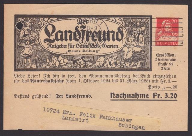 Private Ganzsachenpostkarten - Wertstempel Tellkopf/Tellbrustbild Privat13