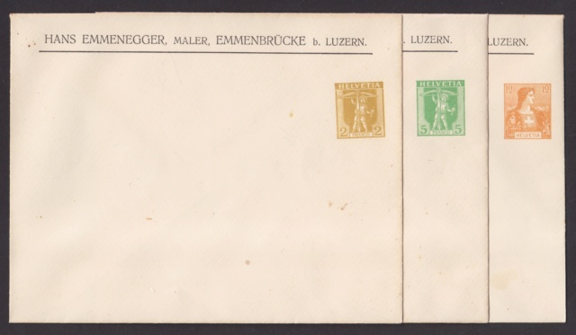 Private Ganzsachenumschläge - Wertstempel Tellknabe/Helvetia (Ausgabe 1907) Privat14