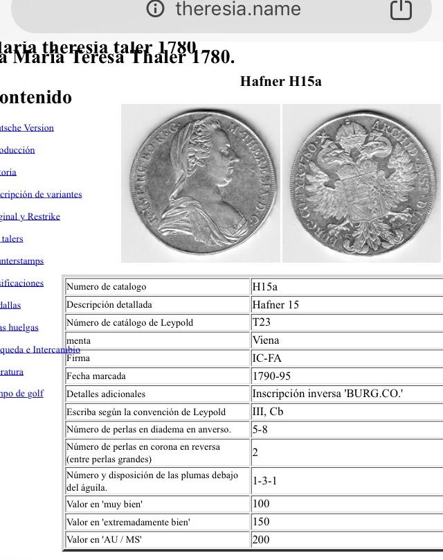 1 thaler Austria Maria theresia  Bc9a5410
