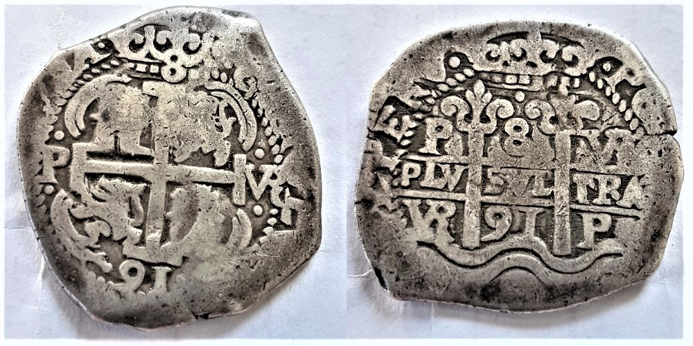 Pièce de 8 réales Charles II 1691 Potosi   1691_310