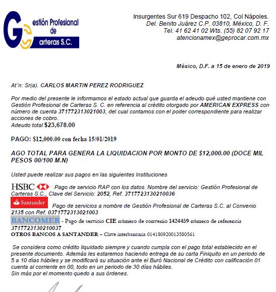 Deuda a AMEX vendida a G PROF CARTERA Captur10