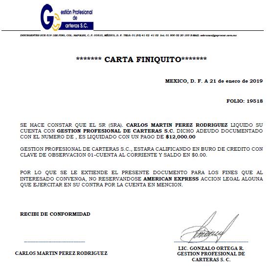 Deuda a AMEX vendida a G PROF CARTERA Captur13