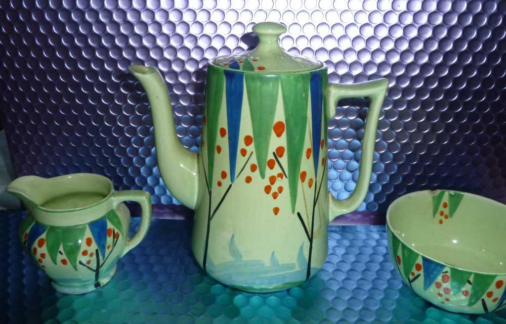 Lawleys Norfolk Pottery Stoke. Unusual Deco Coffee set. Help appreciated P1020513