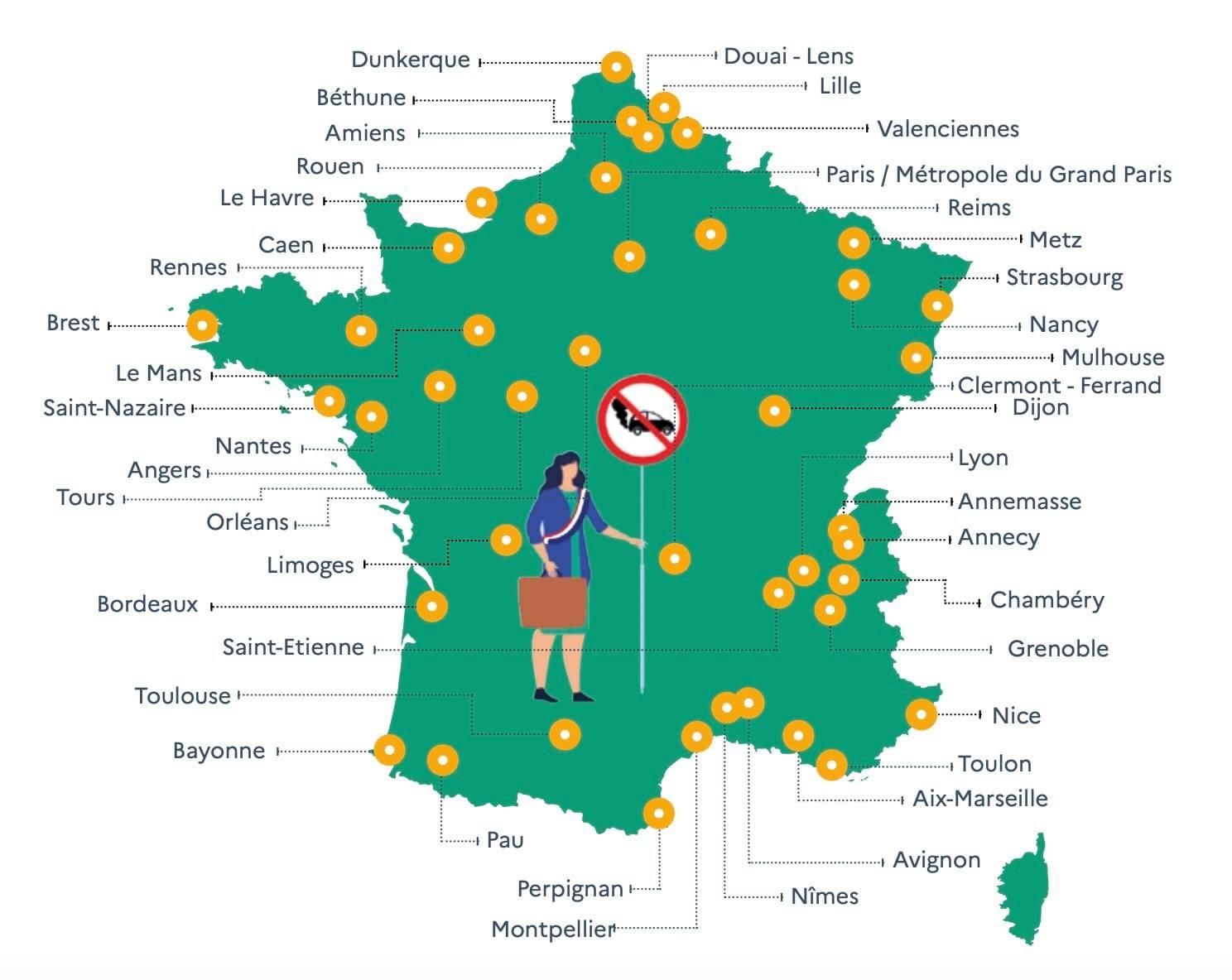 ZFE, la carte de FRANCE et agglos 24078710