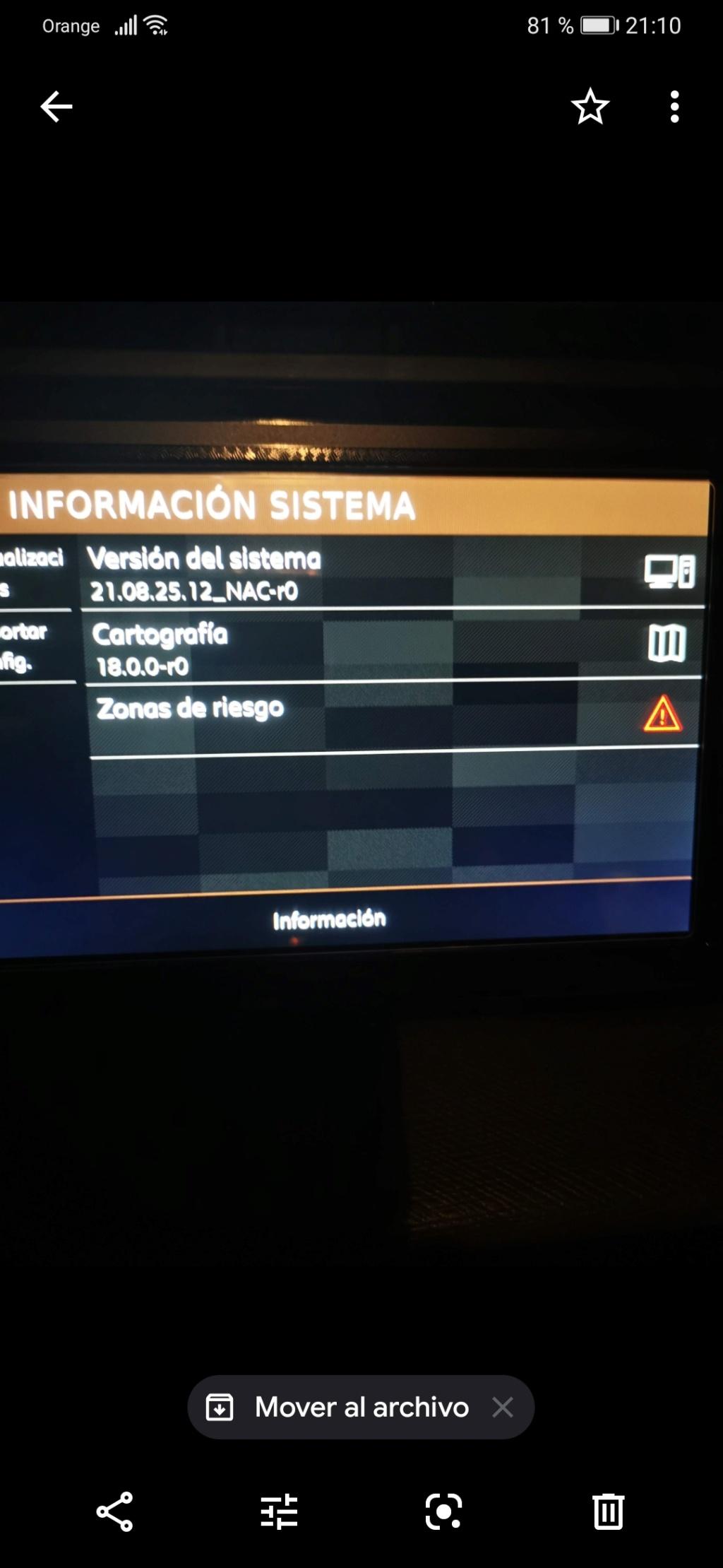 Versiones de firmware y de mapas instaladas Screen10