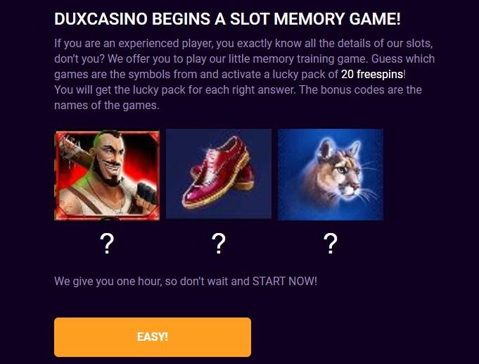 DuxCasino 20 darmowych spinów bez depozytu (exclusive) Duxino10