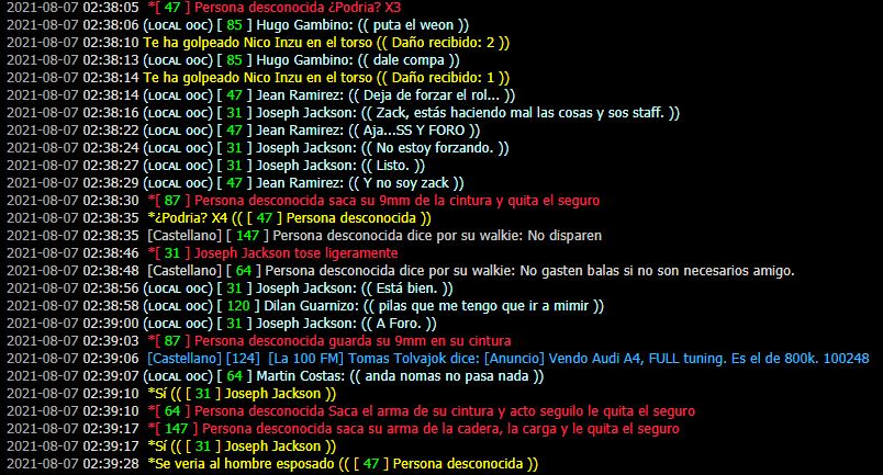 [Reporte] Jean Ramirez | Forzar Rol | PG | Evadir Rol | Mal usar /pm | Mal uso de /me | DM Prueba25