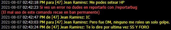 [Reporte] Jean Ramirez | Forzar Rol | PG | Evadir Rol | Mal usar /pm | Mal uso de /me | DM Prueba26