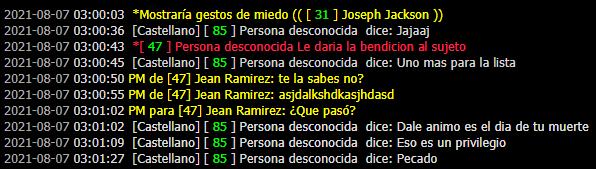[Reporte] Jean Ramirez | Forzar Rol | PG | Evadir Rol | Mal usar /pm | Mal uso de /me | DM Prueba30
