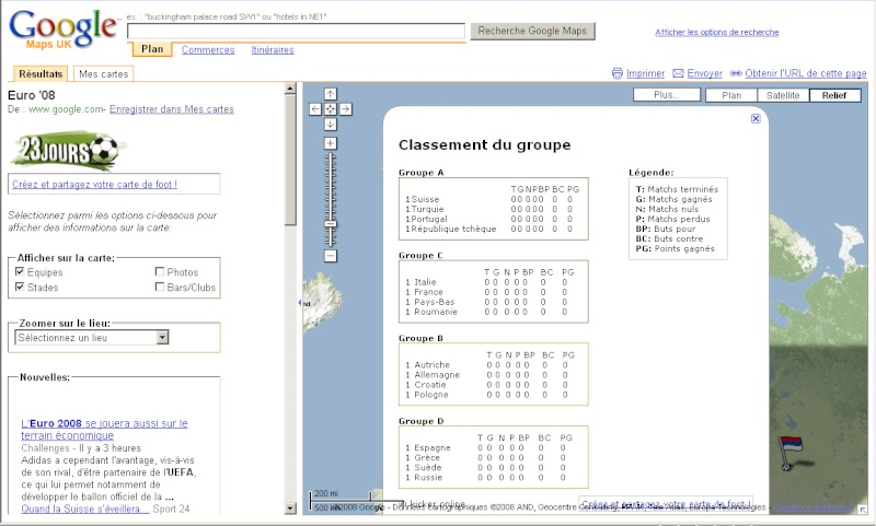 Suivez l'Euro 2008 de Football sur Google Maps Euro0813