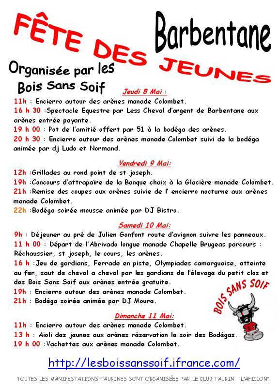 Fête des jeunes 8,9,10 et 11 mai à Barbentane Affich14