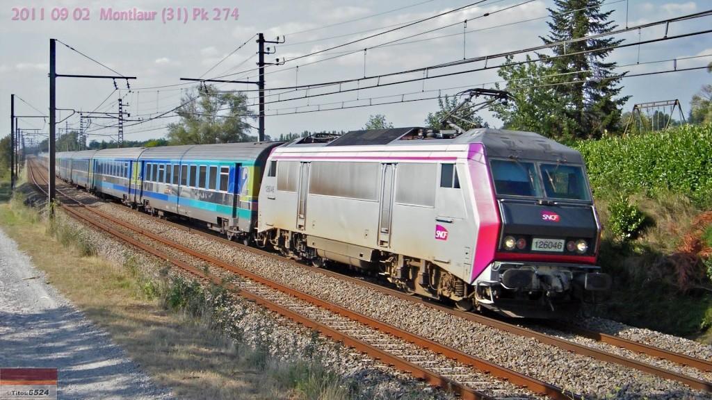 """BB26000 : BB 126046 """" Carmillon"""" sur le 3631  Paris-Port Bou à Montlaur (31)   2011_078"""
