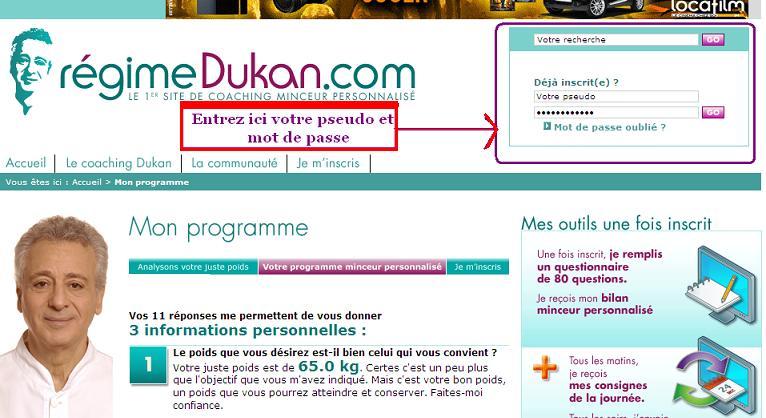 Le site de Coatching du Docteur Dukan Inscri11