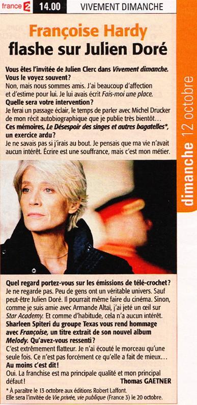 Télé 7 jours - Françoise Hardy flashe sur Julien Doré Articl10