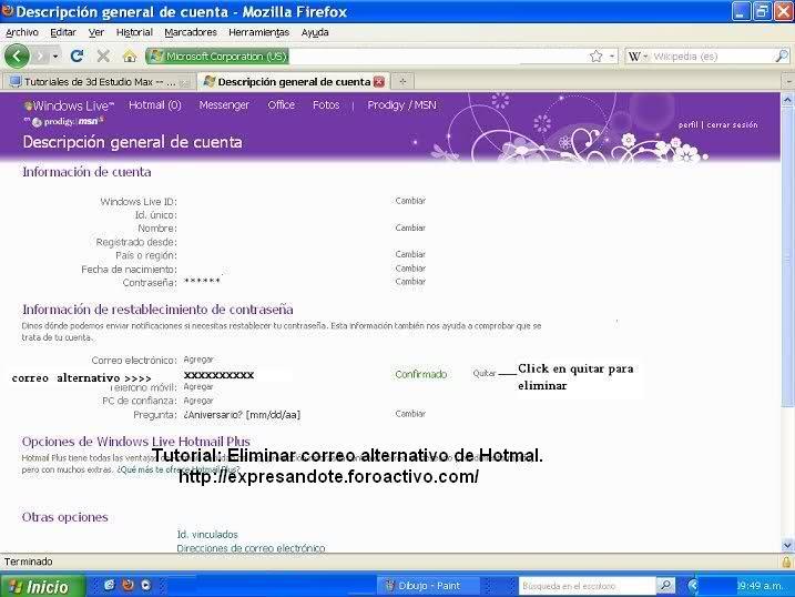 Eliminar correo alternativo en hotmail 310