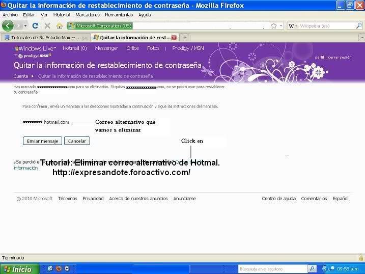Eliminar correo alternativo en hotmail 410